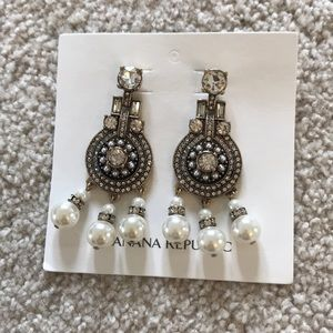 Banana Republic Jewelry - Banana Republic crystal/pearl statement earrings